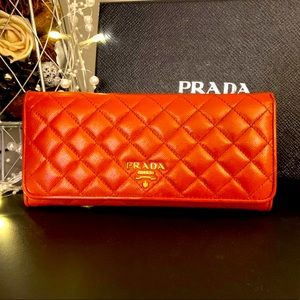 PRADA Quilted Saffiano Long Flap Wallet